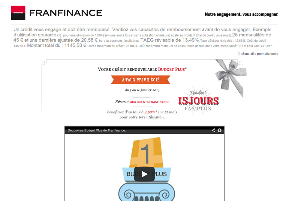 Franfinance Budget Plus - Déclinaison