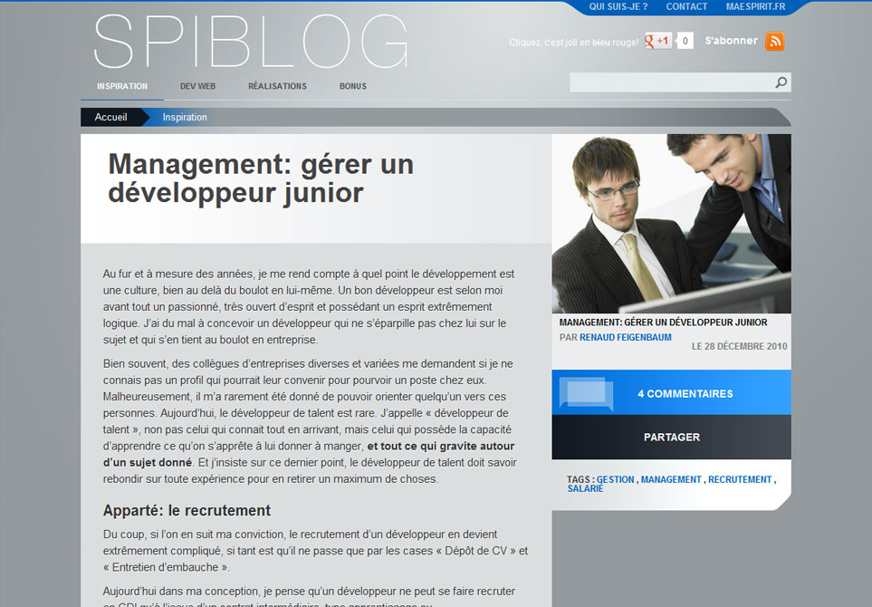 Spiblog - Tutoriel management